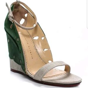 Charlotte Olympia Tan Green Wedge Sandals 40 9